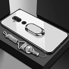 Coque Rebord Contour Silicone et Vitre Miroir Housse Etui avec Support Bague Anneau pour Nokia X7 Blanc