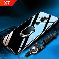 Coque Rebord Contour Silicone et Vitre Miroir Housse Etui avec Support Bague Anneau pour Nokia X7 Noir