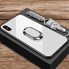 Coque Rebord Contour Silicone et Vitre Miroir Housse Etui avec Support Bague Anneau pour Xiaomi Mi 8 Pro Global Version Blanc