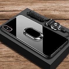 Coque Rebord Contour Silicone et Vitre Miroir Housse Etui avec Support Bague Anneau pour Xiaomi Mi 8 Pro Global Version Noir
