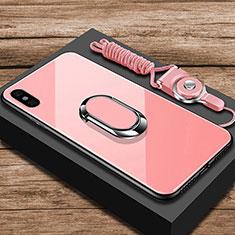 Coque Rebord Contour Silicone et Vitre Miroir Housse Etui avec Support Bague Anneau pour Xiaomi Mi 8 Pro Global Version Or Rose