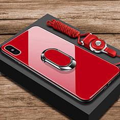 Coque Rebord Contour Silicone et Vitre Miroir Housse Etui avec Support Bague Anneau pour Xiaomi Mi 8 Pro Global Version Rouge