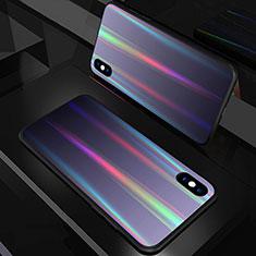 Coque Rebord Contour Silicone et Vitre Miroir Housse Etui Degrade Arc en Ciel A01 pour Apple iPhone X Noir