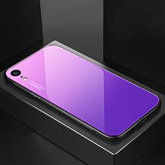 Coque Rebord Contour Silicone et Vitre Miroir Housse Etui Degrade Arc en Ciel A01 pour Apple iPhone XR Violet