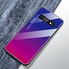 Coque Rebord Contour Silicone et Vitre Miroir Housse Etui Degrade Arc en Ciel A01 pour Samsung Galaxy S10 Plus Rose Rouge