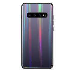 Coque Rebord Contour Silicone et Vitre Miroir Housse Etui Degrade Arc en Ciel A02 pour Samsung Galaxy S10 Plus Noir
