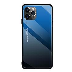 Coque Rebord Contour Silicone et Vitre Miroir Housse Etui Degrade Arc en Ciel H01 pour Apple iPhone 11 Pro Max Bleu