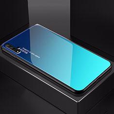 Coque Rebord Contour Silicone et Vitre Miroir Housse Etui Degrade Arc en Ciel H01 pour Huawei Honor 20 Bleu