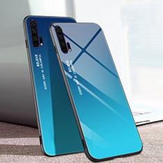Coque Rebord Contour Silicone et Vitre Miroir Housse Etui Degrade Arc en Ciel H01 pour Huawei Honor 20 Pro Bleu