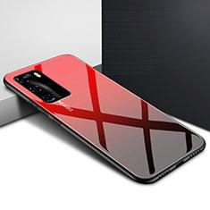Coque Rebord Contour Silicone et Vitre Miroir Housse Etui Degrade Arc en Ciel H01 pour Huawei P40 Pro Rouge