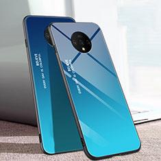 Coque Rebord Contour Silicone et Vitre Miroir Housse Etui Degrade Arc en Ciel H01 pour OnePlus 7T Bleu