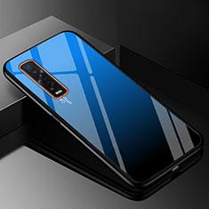 Coque Rebord Contour Silicone et Vitre Miroir Housse Etui Degrade Arc en Ciel H01 pour Oppo Find X2 Pro Bleu