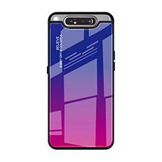 Coque Rebord Contour Silicone et Vitre Miroir Housse Etui Degrade Arc en Ciel H01 pour Samsung Galaxy A90 4G Rose Rouge