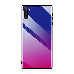 Coque Rebord Contour Silicone et Vitre Miroir Housse Etui Degrade Arc en Ciel H01 pour Samsung Galaxy Note 10 5G Rose Rouge