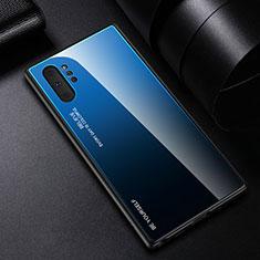 Coque Rebord Contour Silicone et Vitre Miroir Housse Etui Degrade Arc en Ciel H01 pour Samsung Galaxy Note 10 Plus 5G Bleu