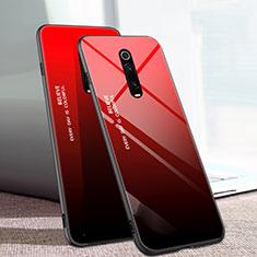 Coque Rebord Contour Silicone et Vitre Miroir Housse Etui Degrade Arc en Ciel H01 pour Xiaomi Mi 9T Pro Rouge