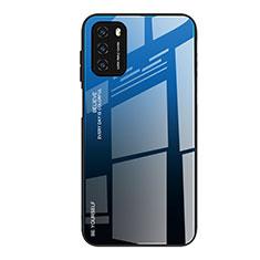 Coque Rebord Contour Silicone et Vitre Miroir Housse Etui Degrade Arc en Ciel H01 pour Xiaomi Poco M3 Bleu