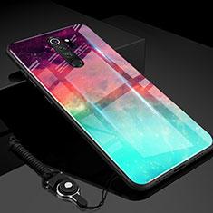 Coque Rebord Contour Silicone et Vitre Miroir Housse Etui Degrade Arc en Ciel H01 pour Xiaomi Redmi Note 8 Pro Vert