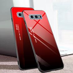 Coque Rebord Contour Silicone et Vitre Miroir Housse Etui Degrade Arc en Ciel H02 pour Samsung Galaxy S10e Rouge