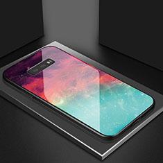Coque Rebord Contour Silicone et Vitre Miroir Housse Etui Degrade Arc en Ciel H03 pour Samsung Galaxy S10e Rouge
