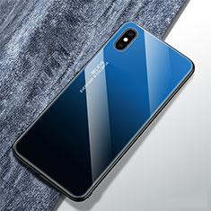 Coque Rebord Contour Silicone et Vitre Miroir Housse Etui Degrade Arc en Ciel M01 pour Apple iPhone X Bleu