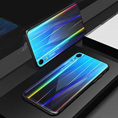 Coque Rebord Contour Silicone et Vitre Miroir Housse Etui Degrade Arc en Ciel M01 pour Apple iPhone XR Bleu