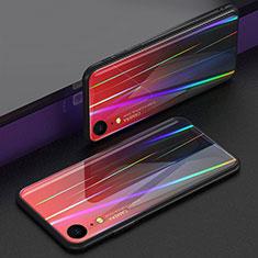 Coque Rebord Contour Silicone et Vitre Miroir Housse Etui Degrade Arc en Ciel M01 pour Apple iPhone XR Rouge
