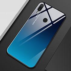 Coque Rebord Contour Silicone et Vitre Miroir Housse Etui Degrade Arc en Ciel M01 pour Huawei Enjoy 9 Plus Bleu