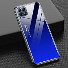 Coque Rebord Contour Silicone et Vitre Miroir Housse Etui Degrade Arc en Ciel M01 pour Oppo Reno4 SE 5G Bleu