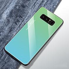 Coque Rebord Contour Silicone et Vitre Miroir Housse Etui Degrade Arc en Ciel M01 pour Samsung Galaxy Note 8 Duos N950F Cyan