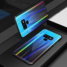 Coque Rebord Contour Silicone et Vitre Miroir Housse Etui Degrade Arc en Ciel M01 pour Samsung Galaxy Note 9 Bleu