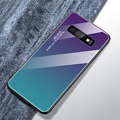 Coque Rebord Contour Silicone et Vitre Miroir Housse Etui Degrade Arc en Ciel M01 pour Samsung Galaxy S10 Mixte