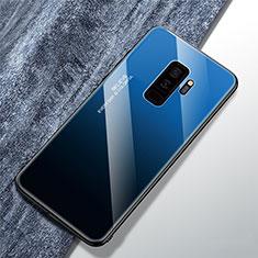 Coque Rebord Contour Silicone et Vitre Miroir Housse Etui Degrade Arc en Ciel M01 pour Samsung Galaxy S9 Plus Bleu