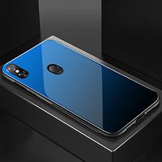 Coque Rebord Contour Silicone et Vitre Miroir Housse Etui Degrade Arc en Ciel M01 pour Xiaomi Mi 8 Bleu