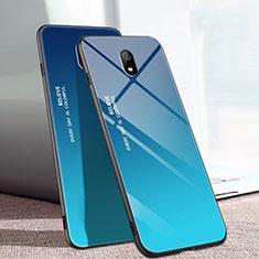 Coque Rebord Contour Silicone et Vitre Miroir Housse Etui Degrade Arc en Ciel M01 pour Xiaomi Redmi 8A Bleu
