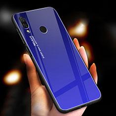 Coque Rebord Contour Silicone et Vitre Miroir Housse Etui Degrade Arc en Ciel M01 pour Xiaomi Redmi Note 7 Bleu