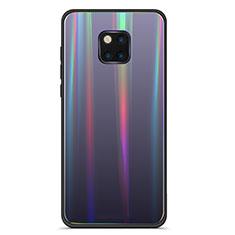 Coque Rebord Contour Silicone et Vitre Miroir Housse Etui Degrade Arc en Ciel M02 pour Huawei Mate 20 Pro Noir