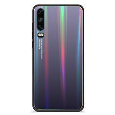 Coque Rebord Contour Silicone et Vitre Miroir Housse Etui Degrade Arc en Ciel M02 pour Huawei P30 Noir