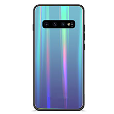 Coque Rebord Contour Silicone et Vitre Miroir Housse Etui Degrade Arc en Ciel M02 pour Samsung Galaxy S10 5G Bleu