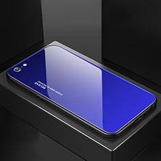 Coque Rebord Contour Silicone et Vitre Miroir Housse Etui Degrade Arc en Ciel pour Apple iPhone 6S Bleu