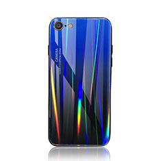 Coque Rebord Contour Silicone et Vitre Miroir Housse Etui Degrade Arc en Ciel pour Apple iPhone 8 Bleu