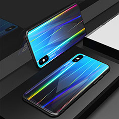 Coque Rebord Contour Silicone et Vitre Miroir Housse Etui Degrade Arc en Ciel pour Apple iPhone X Bleu