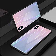 Coque Rebord Contour Silicone et Vitre Miroir Housse Etui Degrade Arc en Ciel pour Apple iPhone X Rose