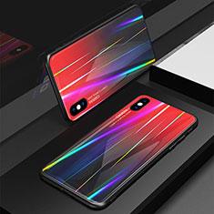 Coque Rebord Contour Silicone et Vitre Miroir Housse Etui Degrade Arc en Ciel pour Apple iPhone X Rouge