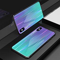 Coque Rebord Contour Silicone et Vitre Miroir Housse Etui Degrade Arc en Ciel pour Apple iPhone X Violet