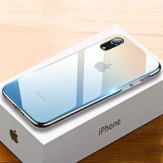 Coque Rebord Contour Silicone et Vitre Miroir Housse Etui Degrade Arc en Ciel pour Apple iPhone XR Bleu Ciel