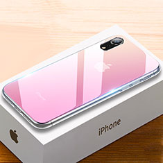 Coque Rebord Contour Silicone et Vitre Miroir Housse Etui Degrade Arc en Ciel pour Apple iPhone XR Rose