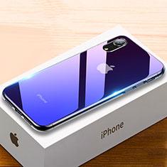 Coque Rebord Contour Silicone et Vitre Miroir Housse Etui Degrade Arc en Ciel pour Apple iPhone XR Violet