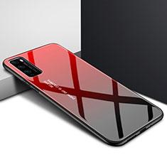 Coque Rebord Contour Silicone et Vitre Miroir Housse Etui Degrade Arc en Ciel pour Huawei Enjoy 20 Pro 5G Rouge
