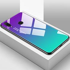 Coque Rebord Contour Silicone et Vitre Miroir Housse Etui Degrade Arc en Ciel pour Huawei Enjoy 9 Plus Cyan